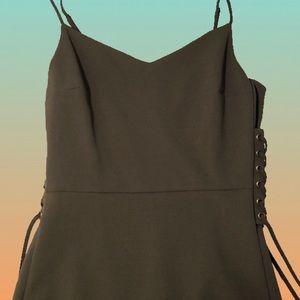 Olive Lace Up Midi Dress